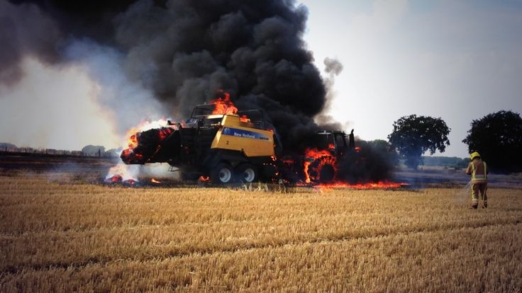 27 July 2013   Tractor and Baler on fire