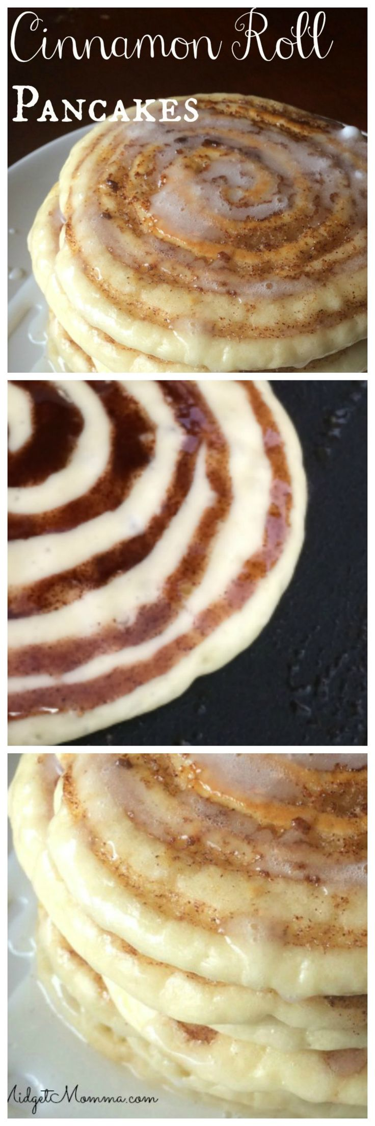 Cinnamon Roll Pancakes. Skip the box pancake mix cause theses cinnamon roll pancakes will blow them away! No boxed mix is needed they are made from scratch, quick to make homemade pancakes that your family will love. Plus you can make extras and then put them in the freezer, they just as good then as they are when they are freshly made. These cinnamon roll pancakes with cream cheese glaze are the perfect addition to your breakfast! xx