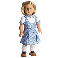 Kit's School Outfit Item# D7326  For a special day at school, Kit chooses this outfit:      A plaid jumper and white blouse with plaid trim at the collar and cuffs     Knee socks and brown oxford shoes     A caramel-colored hair comb  $32 (missing hair comb, shoes, socks)