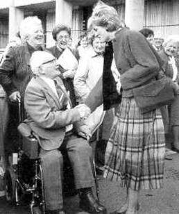 September 19, 1986 Charles & Diana visit Dr Barnardo's Scotch House in Barkingside, Essex, on Pensioners' Day
