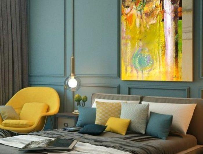 Chambre A Coucher En Bleu Et Gris Joli Lustre Moderne Deco Jaune Moutarde Chambre Design Deco Salon Salon Bleu