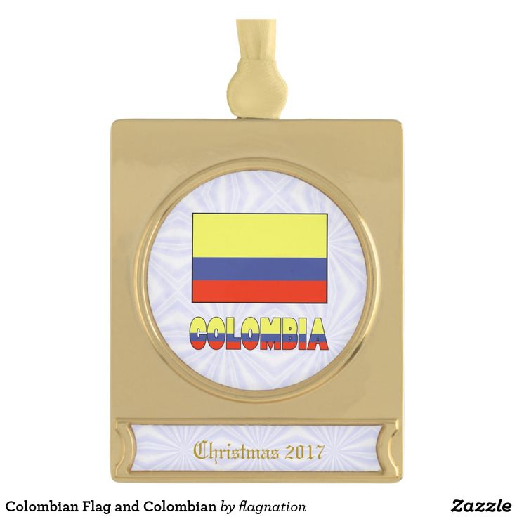 #Colombian Flag and Colombian Gold Plated Banner #Ornament