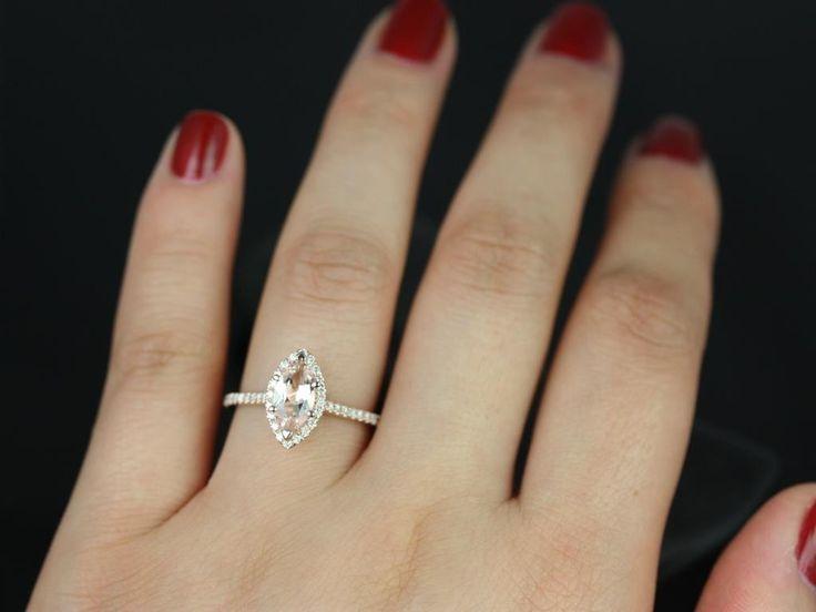 Rosados Box Sasha Rose Gold Marquise Morganite and Diamond Halo Engagement Ring