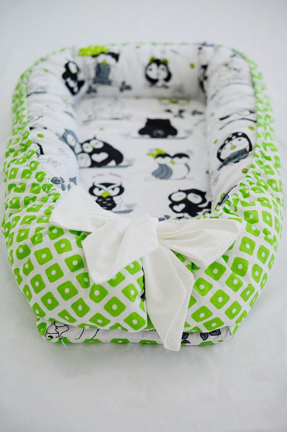 Baby nest green double-sided owl baby lounger co sleeper