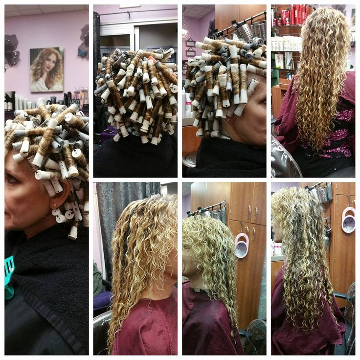piggyback spiral perm on grey and white rods with gorgeous results