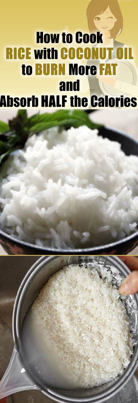 How to cook rice with coconut oil to burn more fat and reduce calories by 50%