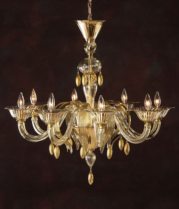 Murano Glass Chandelier Eight Light Hand N Clear And Gold Venetian