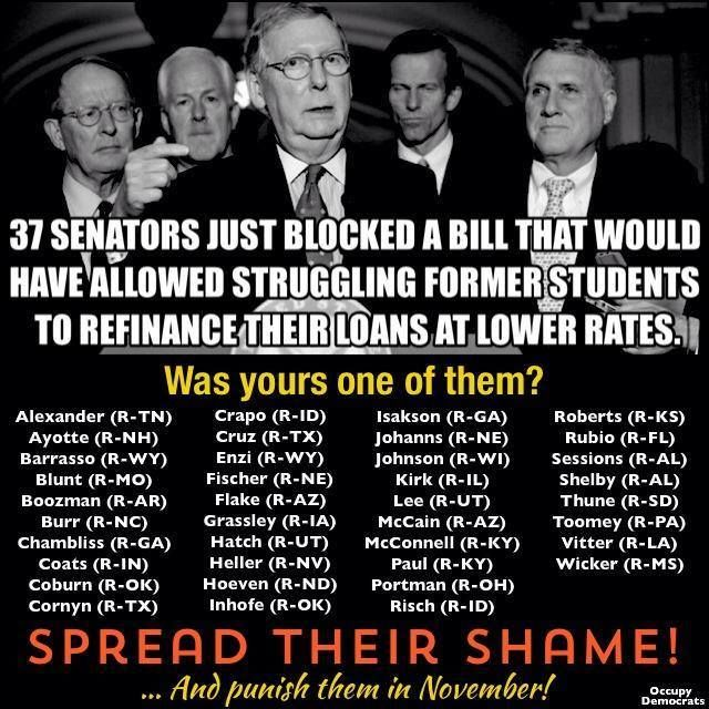 These Senators blocked a bill this week that would have allowed students to refinance at a lower rate.  FIRE THEM THIS NOVEMBER!  Although to do so, you must register to vote!  --  June 14, 2014