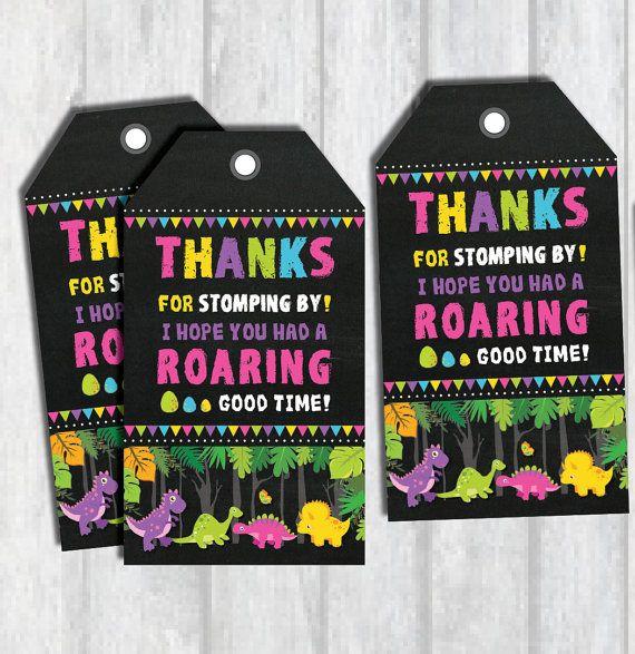 DINOSAUR FAVOR TAGS. Girl Dinosaur Thank You Tags. Instant Download. Dinosaur Birthday Printable. Girly Dinosaur Labels.…