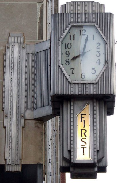 Deco Clock,   First National Bank Building  constructed in 1931 by the First National Bank and Trust Company of Oklahoma City
