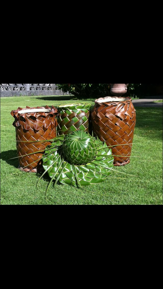 How To Weave Palm Fronds Into A Basket : Best images about weaving art palm frond pand leaf