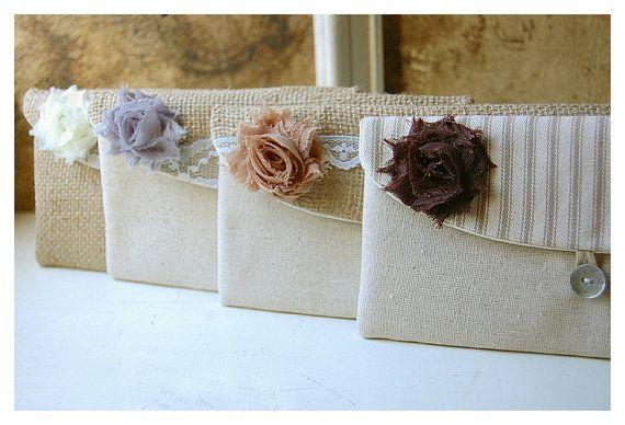 burlap lace wedding clutch purse rustic wedding set 4 by hoganfe