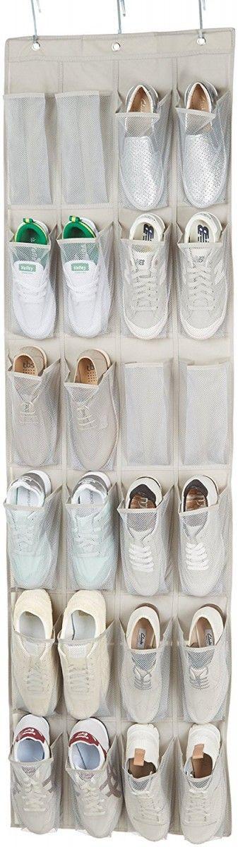 Ce range-chaussures pratique se suspend à vos portes et vous permet de gagner de la place au sol. Les compartiments en maille offre une bonne aération.