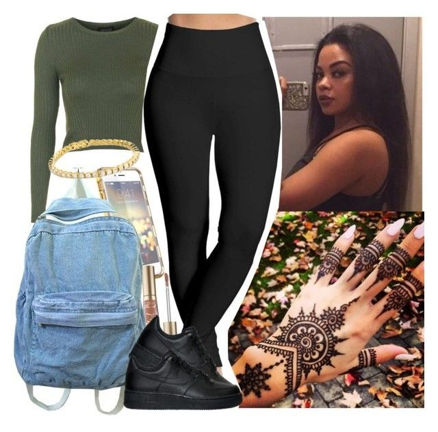 """""""School was boring Asf today """" by saucinonyou999 ❤ liked on Polyvore featuring Topshop, Lyssé Leggings, Too Faced Cosmetics and NIKE"""