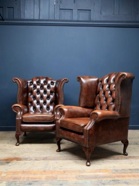 A Pair of Chesterfield armchairs, Antique Chairs & Armchairs, Drew Pritchard vintage, industrial man cave cool