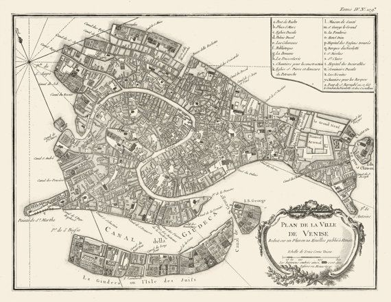 NEW map offered of an old city of Venice Italy 1764 https://www.etsy.com/listing/175277640/vintage-map-venice-italy-1764 #Venice #Italy #vintage