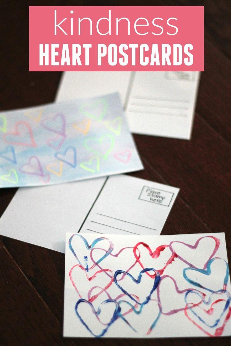 Kindness crafts for preschoolers - Kindness Heart Postcards