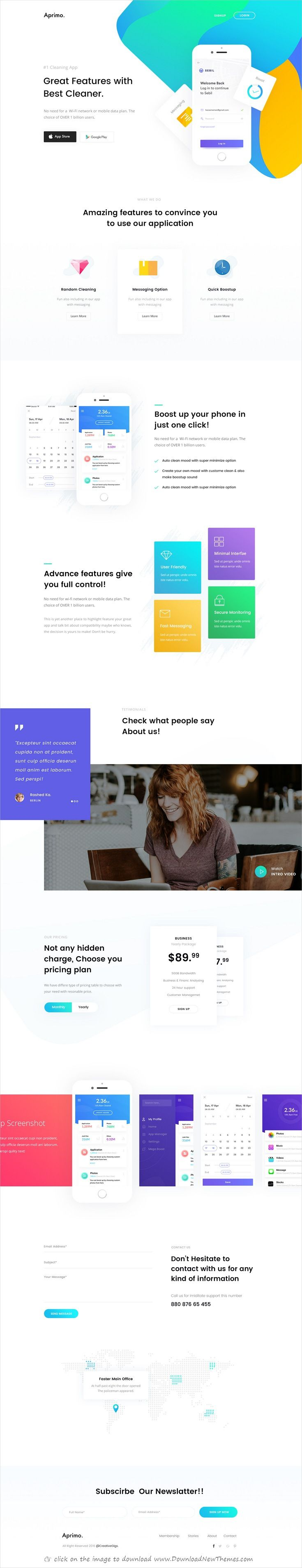 Aprimo is clean and modern design #PSD template for onepage creative #app landing page website with 6 layered PSD pages  click on the image to download.