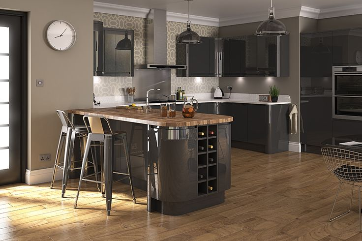 Luca Gloss Graphite Kitchens - Buy Luca Gloss Graphite Kitchen Units at Trade Prices