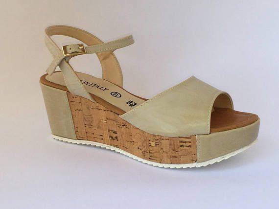 Ladies wedge Sandals leather beige kidskin leather and Cork