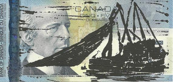 Fishing Nets (Canadian Romantics Series) - Linocut Print - Patrick Bodnar #art #banknote #linocut #printmaking #money #five #dollar #bill