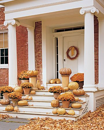 10 Stylish Fall Ideas for your Front Porch..**Dig this but I would like to break this up with some other colors added...too monochromatic: Fall Decoration, Holiday, Pumpkin, Decorating Ideas, Fall Decorating, Fall Porches, Front Porches, Halloween