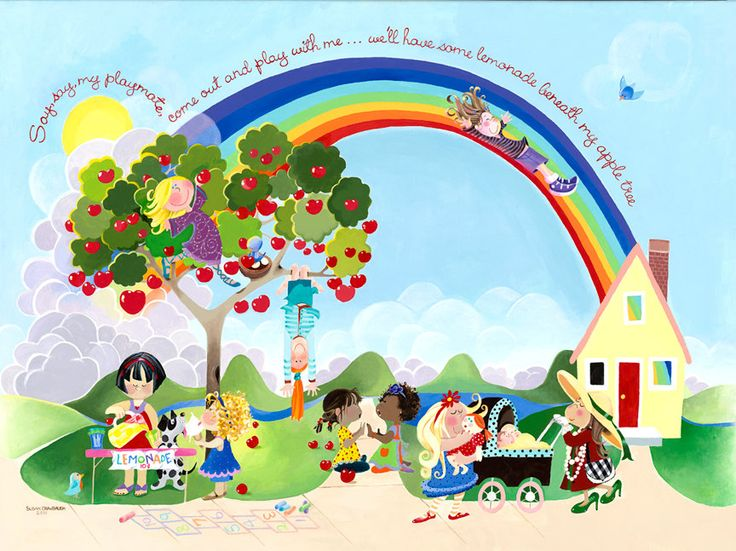 "Rainbow Art for Girls' Room: Say Say Oh Playmate - Gallery Wrapped Canvas - 40""H x 30""W by susandrawbaugh on Etsy"