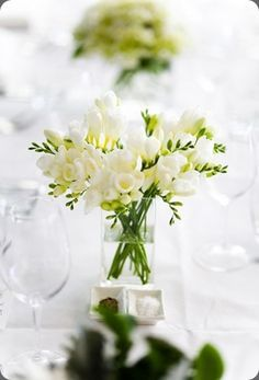 simple fressia wedding centerpieces - Google Search