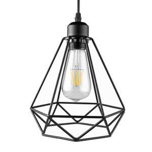 Lampe Suspension Lustre Cage Abat-jour de Plafond Style Industrielle Vintage Retro(Sans ampoule). Source de lumière: E27 (ampoule ne pas inclure). Puissance: Max 40W. Tension: 85-240V. Matériel: Fer peint. Longueur du câble: Max.1m / 3.3ft (réglable)
