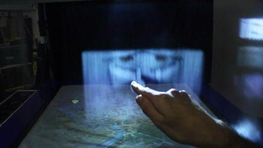 MisTable combines a 2D tabletop display with 3D personal fog screens (Photo: Bri…