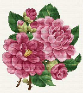Ellen Maurer-Stroh Pink Peonies - Cross Stitch Pattern. Stitch on fabric of your choice using DMC floss. Stitch count: 92W x 101H.