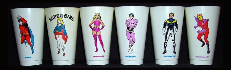 """DC Comics/7-Eleven Slurpee cup promotion, c.1973. Cockrum's Legion drawings for this set were published in two separate """"Lore of the Legion"""" features in Superboy comics in 1974 (issues 202 and..."""