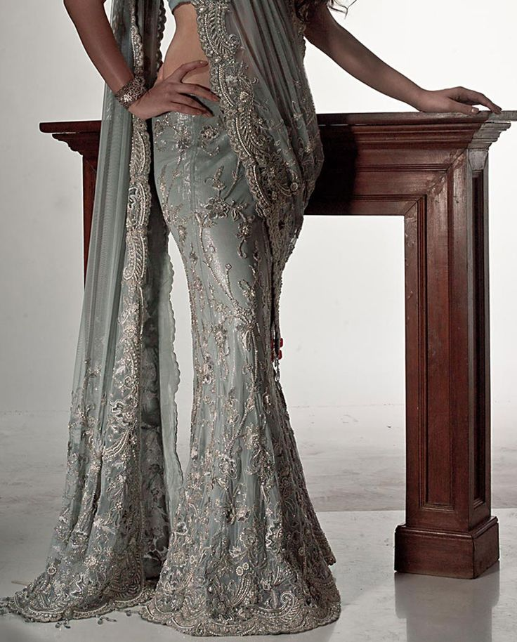 Grey Color Embroidered Lehenga Sari Is Now At www.ladyselection.com