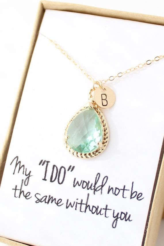 Prasiolite Green / Gold Bridesmaid Necklace - Personalized Bridesmaid Necklace - Bridesmaid Gift - Light Mint Bridesmaid Jewelry - NR1