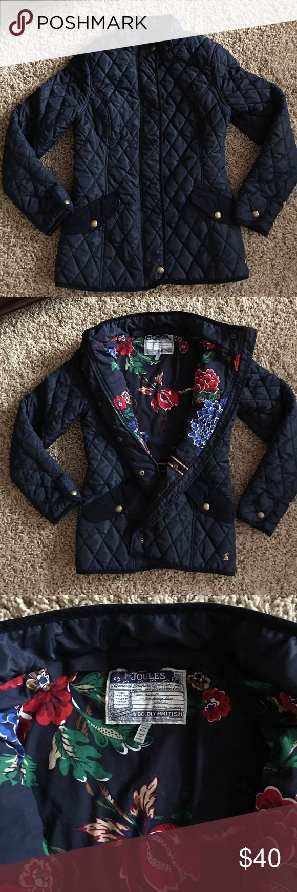 Joules Equestrian Field Jacket Joules Equestrian Field Jacket  in Navy blue.  Quilted outer material with inner zipper/snap.  Two front pockets with velour velveteen flap.  Inner floral lining.  Size Medium.  In excellent preowned condition. Joules Jackets & Coats Utility Jackets