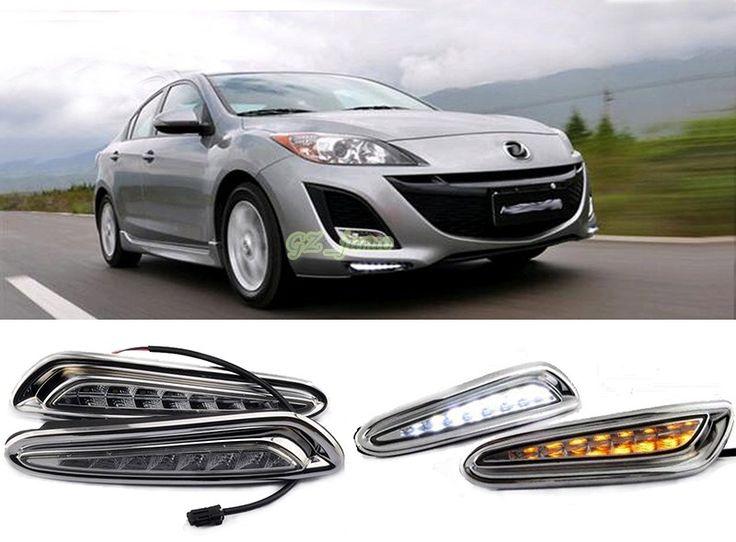 61.20$  Watch now - http://alisd1.shopchina.info/go.php?t=32788309272 - LED Daytime Running Light + Yellow turn signal For Mazda 3 Axela Car Fog Lamp DRL 2010 2011 2012 2013  #buyonline