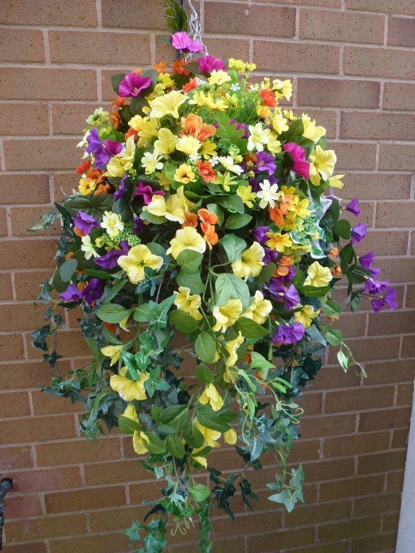 hanging basket with artificial yellow petunias garden. Black Bedroom Furniture Sets. Home Design Ideas