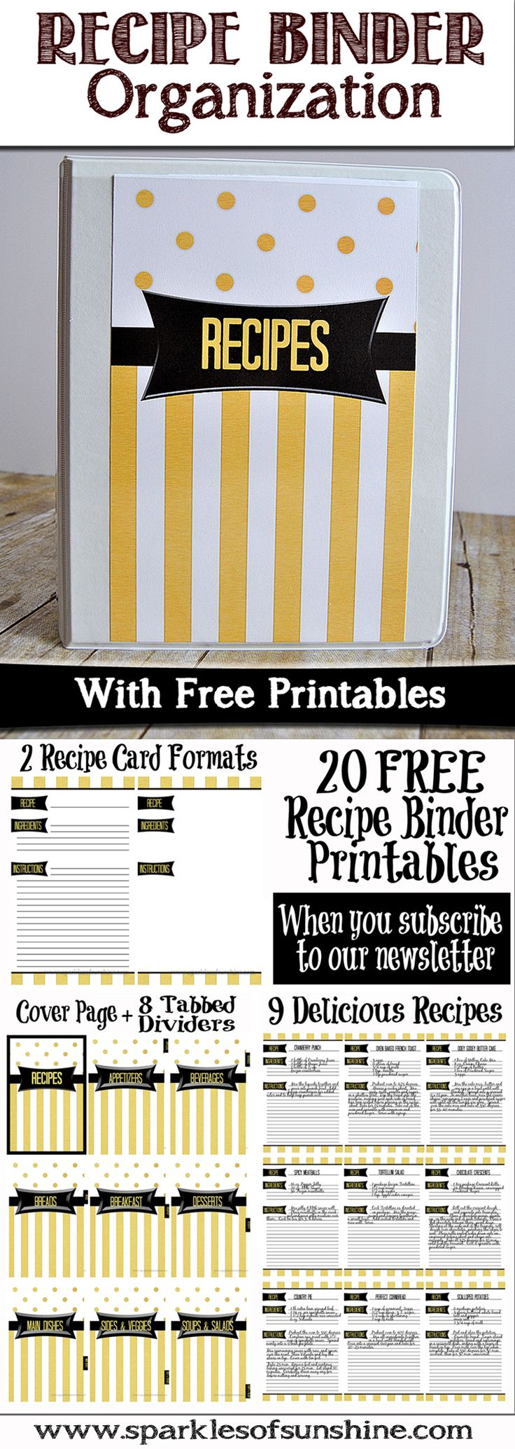 Organize your recipes by creating a recipe binder for your kitchen. Get your Free Recipe Binder Printables at Sparkles of Sunshine Blog.