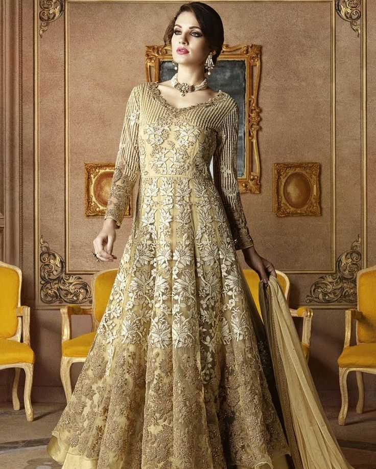 Georgeous gold floor length anarkali suit    #ethnicwear #ethnicstyle #indianstyle #partywear #bollywood #indianstyle #anarkalisuit