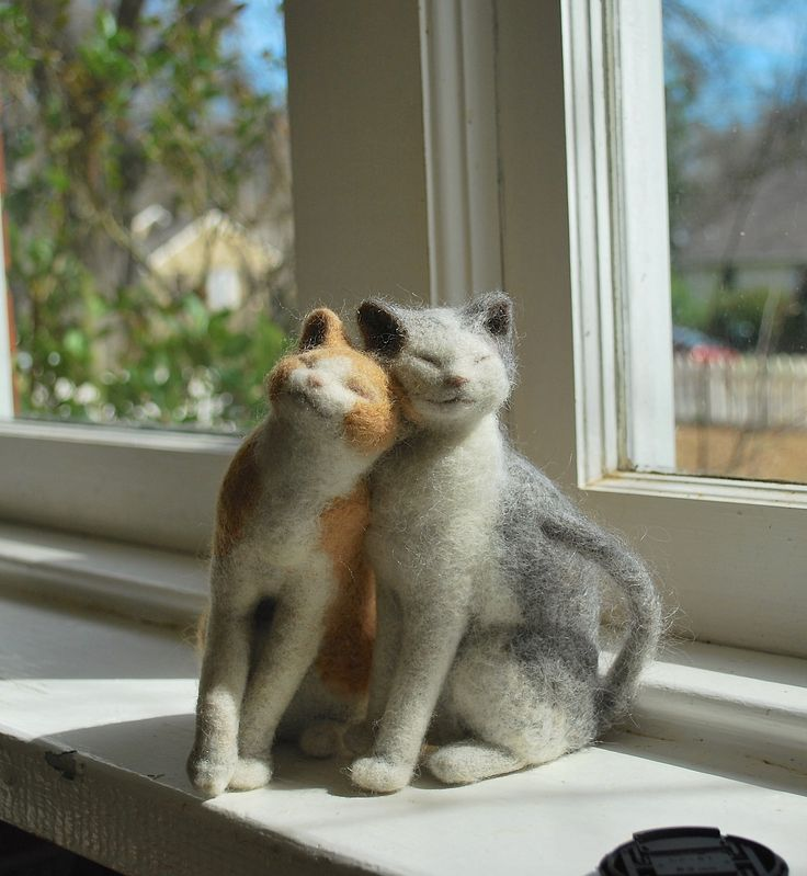 the head nudge ... needle felted cats | handmade + collectibles
