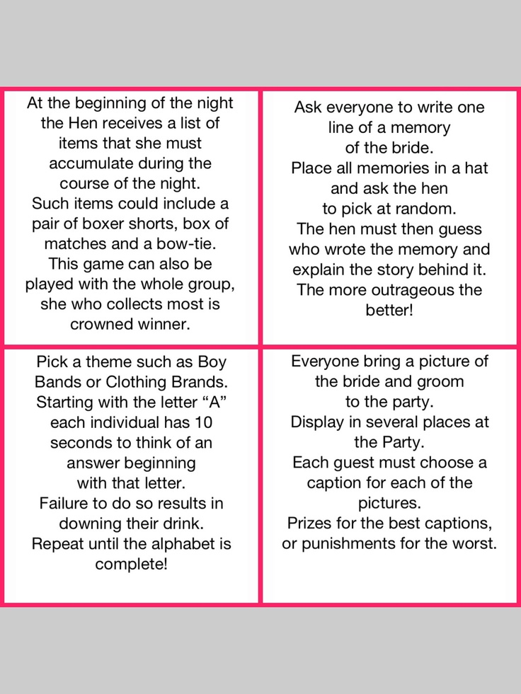 Hen Party Game Ideas Home