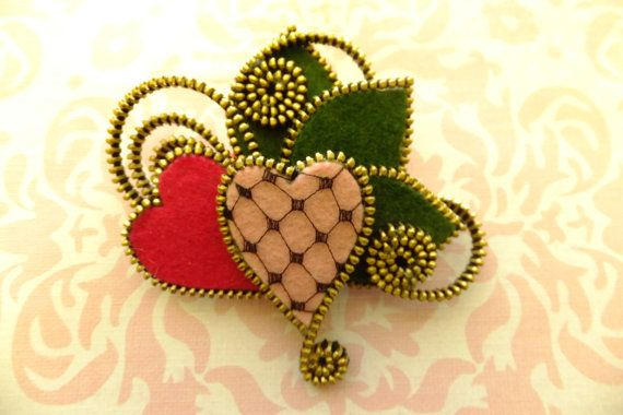 Hearts Felt Zipper Brooch For Coat Jacket Hat  by MsLolaCreates, $28.00