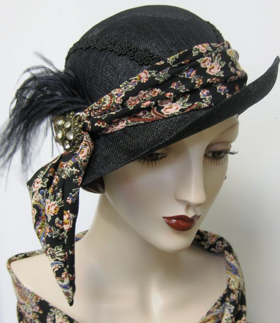 Black Straw Cloche with Paisley Sash by ThistleCottageStudio