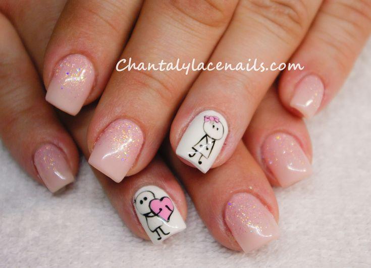 pink valentine nails/ valentine day nail art