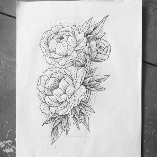 Line Art Tattoos : Ideas about japanese peony tattoo on pinterest