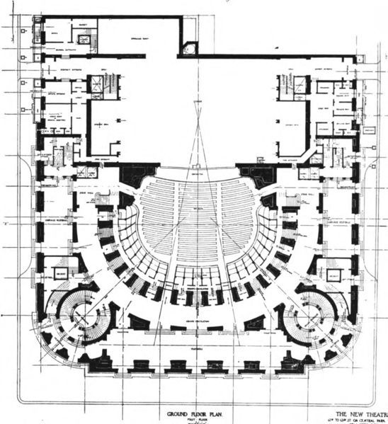 File:New Theatre   Ground Floor Plan   The Architect
