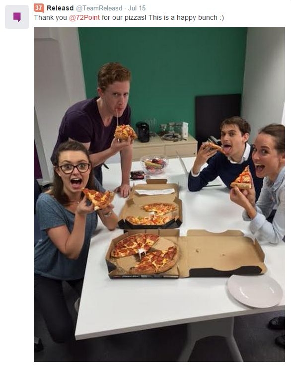 The guys at Releasd really loved their free prizza #72point #Pizza #Food #freegift