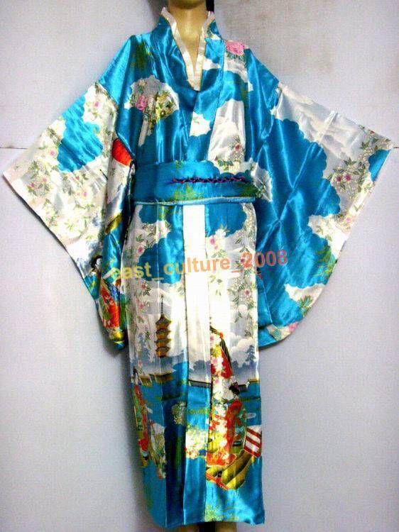 New Vogue Blue Japanese Style Female Satin Kimono Traditional Classic Yukata With Obi Novelty Prom Dress One size JK005