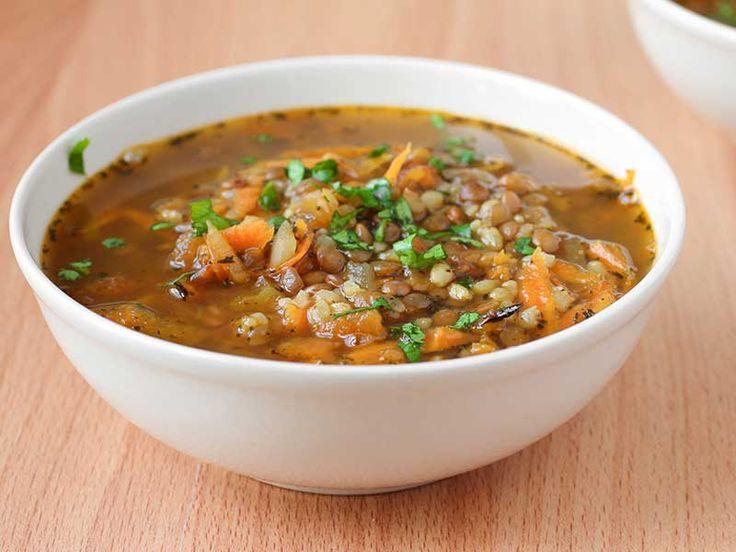 Soupe au riz et aux lentilles