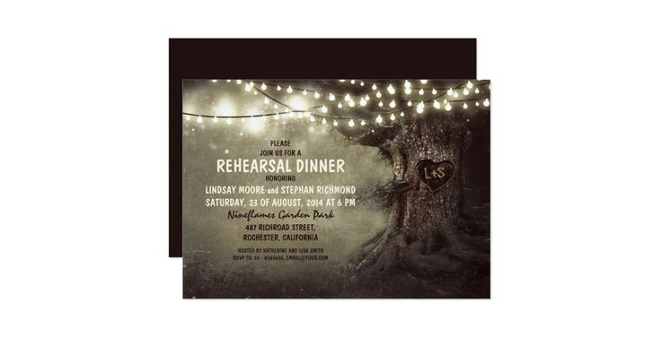 Rustic rehearsal dinner invitation featuring old oak tree and string lights accents. The tree is carved with a heart shape and your initials. Perfect invitation for rustic country rehearsal dinner with tree theme and twinkle lights decorations. Twinkle lights, string lights or lanterns can add a very special touch to your dinner. It creates a festive and magic mood in the evening. And it looks amazing on the invite too. Please contact me if you need help with customization or have a custom…